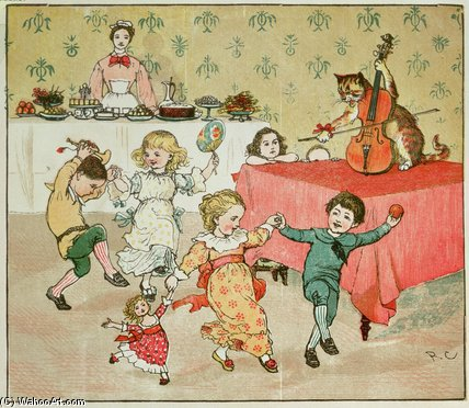 The Cat And The Fiddle And The Children`s Party by Randolph Caldecott (1846-1886, United Kingdom) | Famous Paintings Reproductions | WahooArt.com