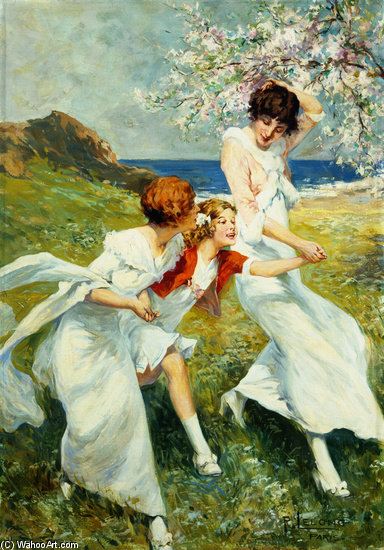A Spring Day By The Seashore by Rene Lelong (1871-1933, France) | Painting Copy | WahooArt.com