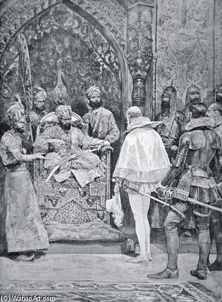 Akbar The Great Receives Queen Elizabeth`s by Richard Caton De Woodville (1856-1927, United States) | Famous Paintings Reproductions | WahooArt.com