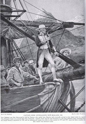 Captain Cook Approaching New Zealand - by Richard Caton De Woodville (1856-1927, United States)