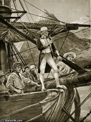 Captain Cook Approaching New Zealand by Richard Caton De Woodville (1856-1927, United States) | Famous Paintings Reproductions | WahooArt.com