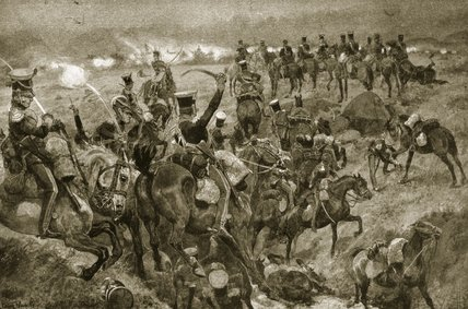 Charge Of The Dragoons At Talavera by Richard Caton De Woodville (1856-1927, United States)
