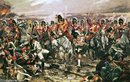 Charge Of The Scots Greys At Waterloo by Richard Caton De Woodville (1856-1927, United States)