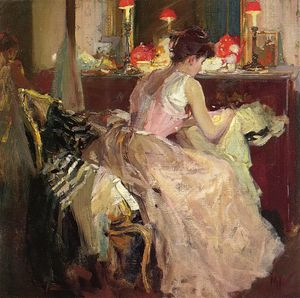 Richard Edward Miller - Sewing By Lamp Light