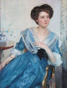 Richard Edward Miller - Woman In Blue Dress