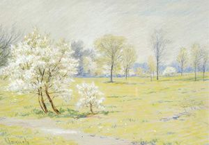 Robert William Vonnoh - Spring Landscape With Blossoms