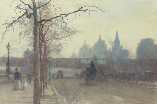 Charing Cross Bridge, London by Rose Maynard Barton (1856-1930, Ireland) | Museum Quality Reproductions | WahooArt.com