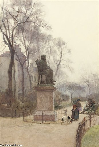 The Carlyle Statue, Chelsea by Rose Maynard Barton (1856-1930, Ireland)