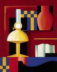 Sandor Bortnyik - Composition With Paraffine Lamp, Vase And Book