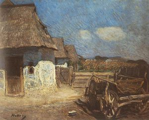 Simon Hollosy - Peasant Yard With Cart