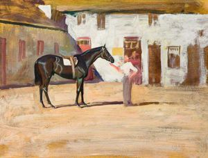 Alfred James Munnings - A Black Horse At Newmarket