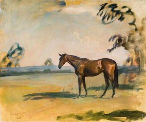 Alfred James Munnings - A Dark Bay Horse In A Landscape