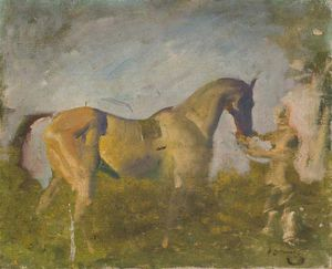 Alfred James Munnings - A Horse With A Groom