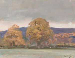 Alfred James Munnings - A Landscape With Trees On The Edge Of A Field