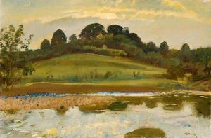 Alfred James Munnings - A River Landscape On Exmoor