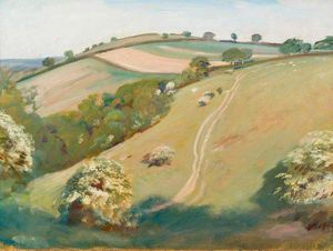 Alfred James Munnings - A View On Exmoor With Bushes In Blossom