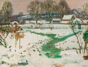 Alfred James Munnings - A Winter Scene At Castle House With Birds Feeding