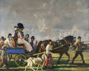 Alfred James Munnings - Arrival At Epsom Downs For Derby Week
