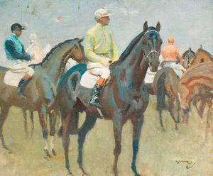 Alfred James Munnings - Before The Race -