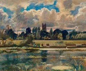 Alfred James Munnings - Dedham Painted From Lock Cottage