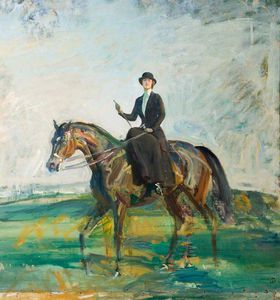 Alfred James Munnings - Lady Munnings Riding A Bay Hunter