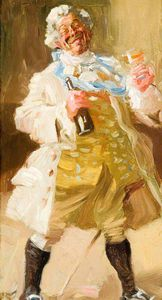 Alfred James Munnings - Old Man In Period Costume Holding A Bottle And Glass