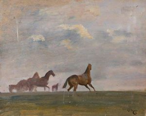 Alfred James Munnings - Racehorses In A Landscape