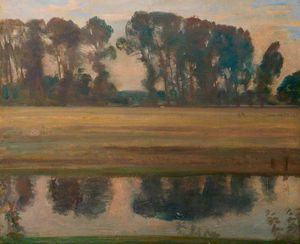 Alfred James Munnings - River Landscape With Trees