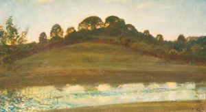 Alfred James Munnings - River Scene At Brightworthy, Withypool, Exmoor, Evening Light