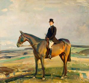 Alfred James Munnings - Raymond Greene, Dso, Mp, On Horseback