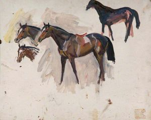 Alfred James Munnings - Studies Of A Bay Racehorse