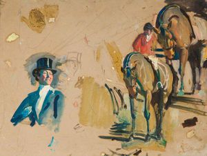 Alfred James Munnings - Studies Of A Huntsman And His Horse And Of Lady Munnings