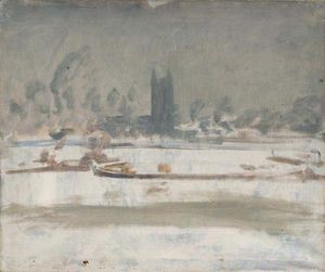 Alfred James Munnings - Study Of A Barge On The Stour At Dedham In Snow