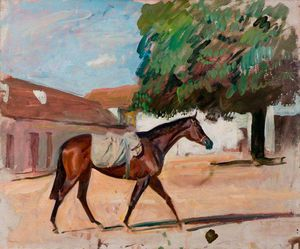 Alfred James Munnings - Study Of A Bay Filly In A Newmarket Yard