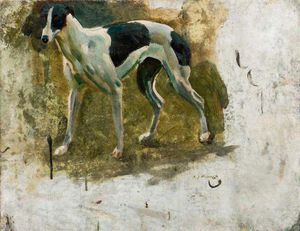 Alfred James Munnings - Study Of A Black And White Greyhound