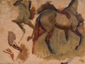 Alfred James Munnings - Study Of A Horse With Anatomical Parts