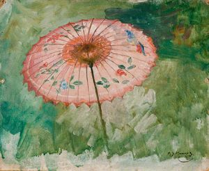 Alfred James Munnings - Study Of A Parasol, Possibly For 'the White Canoe'