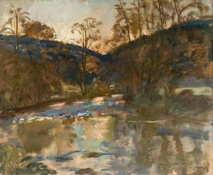 Alfred James Munnings - Study Of A River Landscape