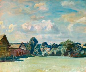 Alfred James Munnings - Suffolk Landscape With Farm Buildings
