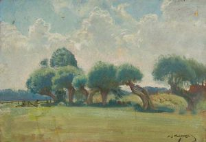 Alfred James Munnings - Trees By The Edge Of A Field -