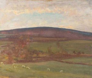 Alfred James Munnings - Withypool Hill, Exmoor, Sheep In The Foreground