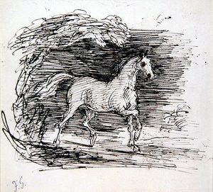 Francis Grant - A Grey Horse Trotting Out Of A Wood