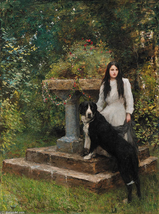 A Young Girl And Her Dog by Hubert Von Herkomer (1849-1914, Germany) | Museum Quality Copies Hubert Von Herkomer | WahooArt.com