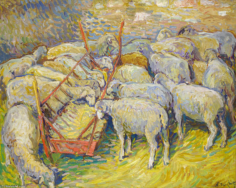 Sheep In The Stable In Perigord by Nikolai Aleksandrovich Tarkhov (1871-1930, Russia)