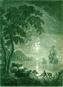 Adriaen Van Diest - Landscape, Moonlit View Of A Strech Of Calm Water With A Ship To Right And Smaller Boats Around It