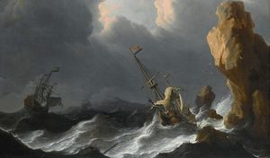 Aernout Smit - Shipwreck In Heavy Storm Along Rocky Coast