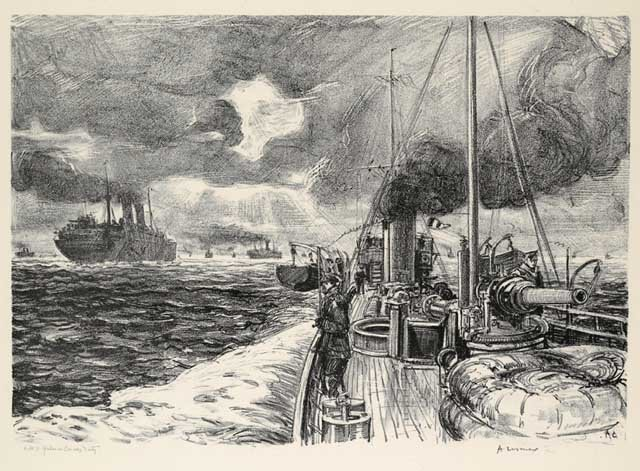 Hmcs Grilse On Convoy Duty by Arthur Lismer (1885-1969, United Kingdom) | Museum Quality Reproductions | WahooArt.com
