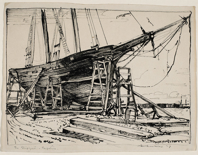 The Shipyard, Paspebiac by Arthur Lismer (1885-1969, United Kingdom) | Museum Quality Reproductions | WahooArt.com