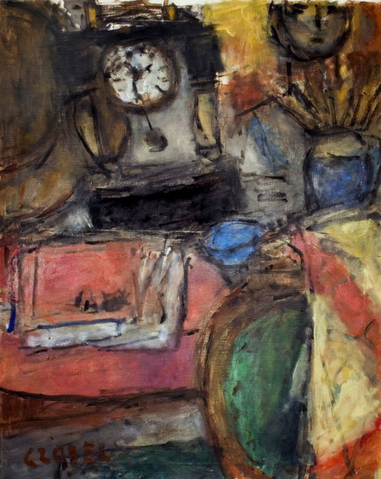 Still Life With Clock by Bela (Adalbert) Czobel (1883-1976, Hungary)