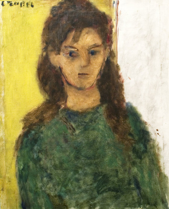Young Girl In Green by Bela (Adalbert) Czobel (1883-1976, Hungary)